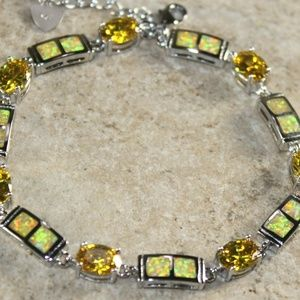 Yellow Fire Opal Silver Bracelet